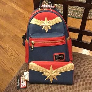 Loungefly Captain Marvel Backpack and Wallet Set